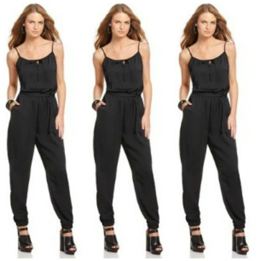 Ali & Kris Jumpsuit, Sleeveless Scoop Neck Drawstring Tie Keyhole Relaxed Skinny