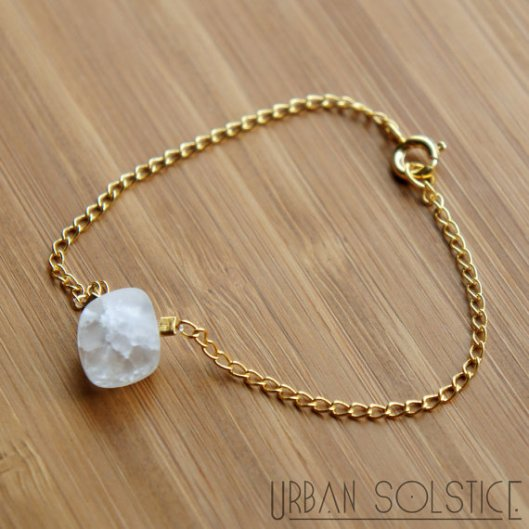 Crackle Quartz Nugget Bracelet in 14k Gold