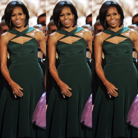 Michelle Obama wears a custom-made silk-crepe Cushnie et Ochs