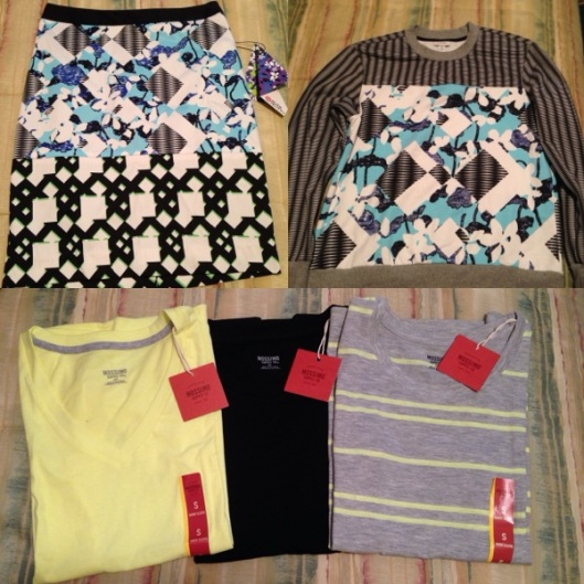 Top Left: (Peter Pilotto for Target Pencil Skirt), Top Right (Peter Pilotto for Target Sweatshirt) Bottom (Mossimo Supply Co. Tanks)